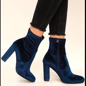 Steve Madden Blue Velvet Ankle Booties Shoes